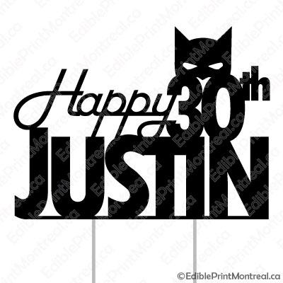 045CM Happy Birthday Name Age Batman Cake Topper