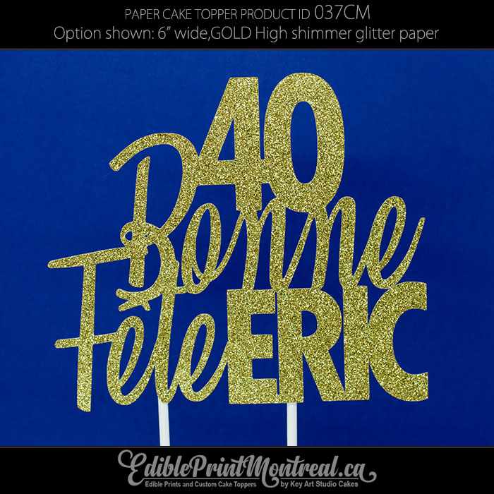 037CM Bonne Fete Name Number Cake Topper
