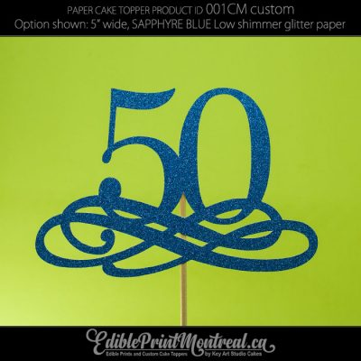 001CM Number with flourish Cake Topper