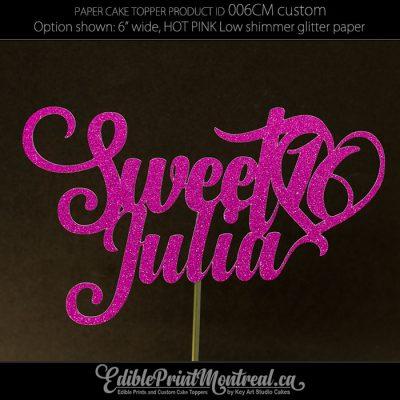 006CM Sweet Sixteen 16 Name Cake Topper