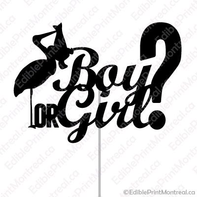 007GN Boy or Girl? Baby Gender Reveal Cake Topper