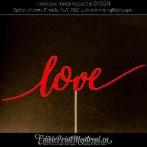 010GN Love glitter paper Cake Topper
