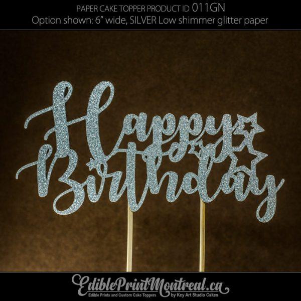 011GN Happy Birthday glitter paper Cake Topper