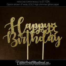 011GN Happy Birthday glitter paper Cake Topper