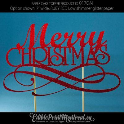 017GN Merry Christmas Cake Topper