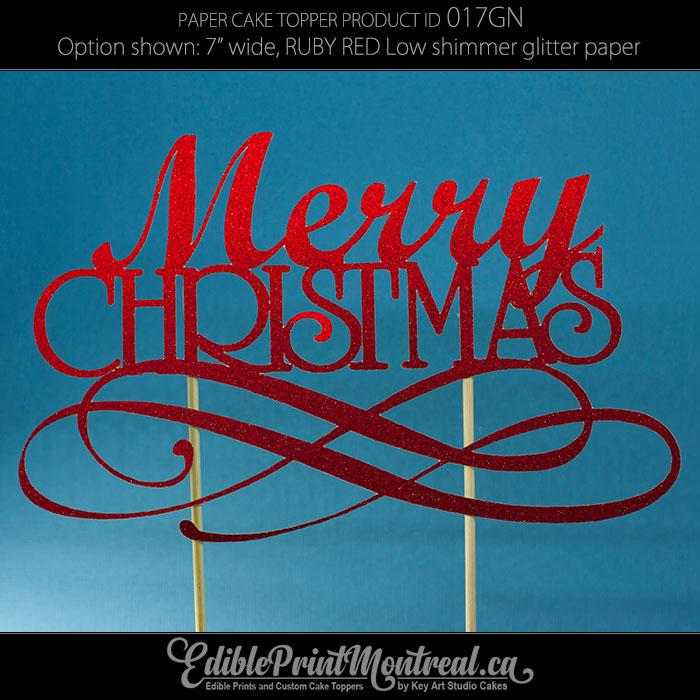 017gn Merry Christmas Cake Topper Edible Print Montreal