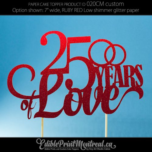 020CM Number Years of Love Wedding Anniversary Cake Topper