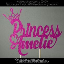 024CM Princess Name Cake Topper