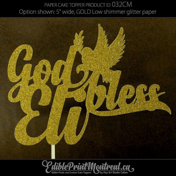 032CM God Bless Name Cake Topper