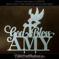033CM God Bless Name Cake Topper
