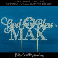 036CM God Bless Name Cake Topper