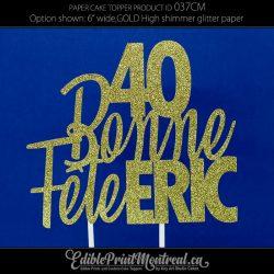 037CM Bonne Fête Name Number Cake Topper