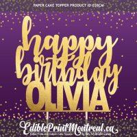 038CM Happy Birthday Name Custom Paper Cake Topper