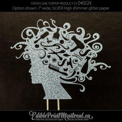 040GN Hairdresser Head Cake Topper