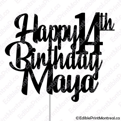 046CM Happy Birthday Age Name Cake Topper