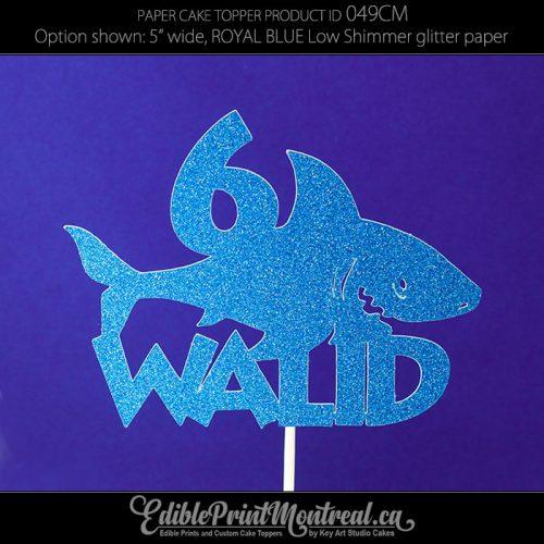 049CM Shark Name Age Cake Topper