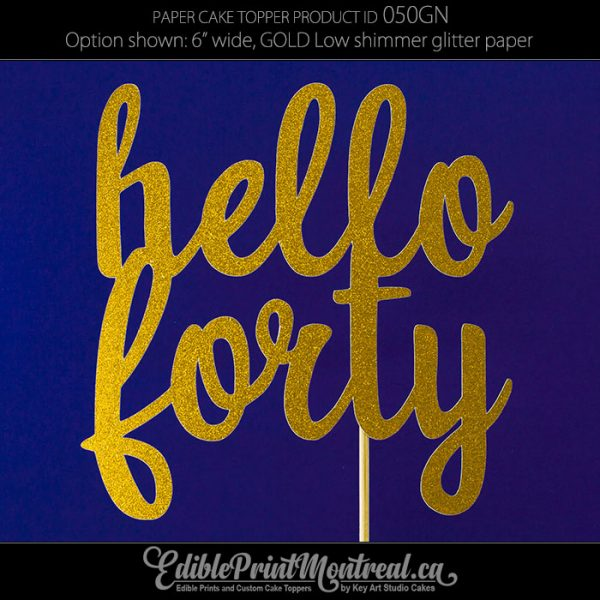 050GN Hello Forty Cake Topper
