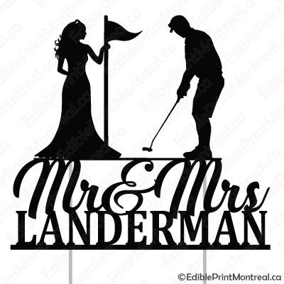 051CM Mr and Mrs Golf Wedding Cake Topper