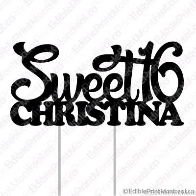 070CM Sweet 16 Sixteen Name Cake Topper