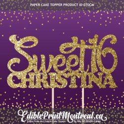 070CM Sweet 16 Name Cake Topper