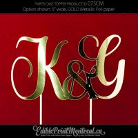 075CM Wedding Monogram Letters Cake Topper