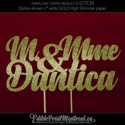 077CM M. & Mme Name Wedding Cake Topper