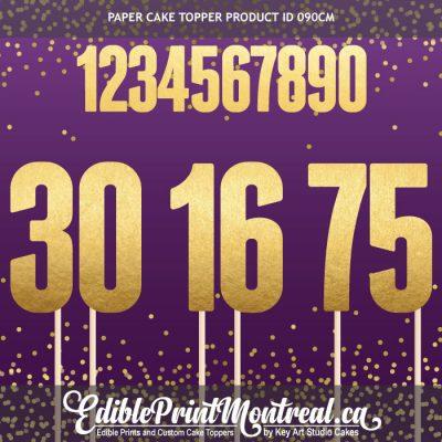 090CM Number Cake Topper separate digits block font