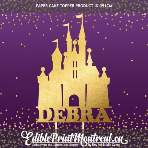 091CM Princess Castle Name Paper Cake Topper