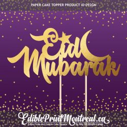 092GN Eid Mubarak Arabic Muslim Feast Paper Cake Topper