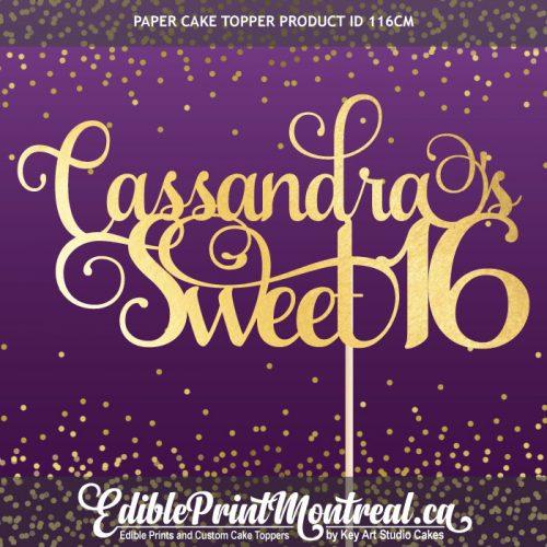 116CM Name Sweet Sixteen 16 Custom paper Cake Topper