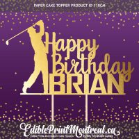 118CM Happy Birthday Golf Player Name Paper Cake Topper