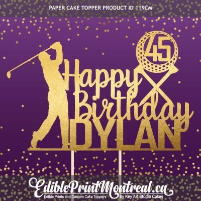 119CM Happy Birthday Golf Player Name Age Number Paper Cake Topper