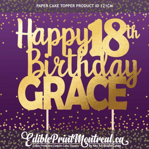 121CM Happy Birthday Age Number Name Custom Paper Cake Topper