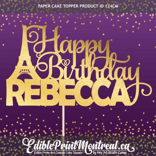 124CM Happy Birthday Name Paris Eiffel Tower France Custom Paper Cake Topper