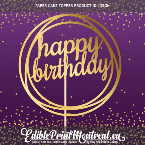 135GN Happy Birthday Paper Cake Topper