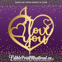 137GN I Love You Custom Paper Cake Topper