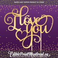 139GN I Love You Custom Paper Cake Topper