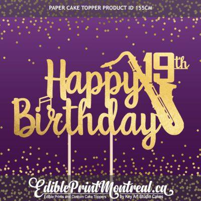 155CM Happy Birthday Age Number Saxophone Custom Paper Cake Topper