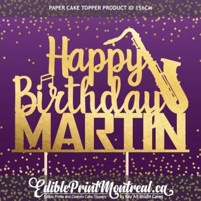 156CM Happy Birthday Name Saxophone Custom Paper Cake Topper
