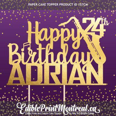 157CM Happy Birthday Name Age Number Saxophone Custom Paper Cake Topper