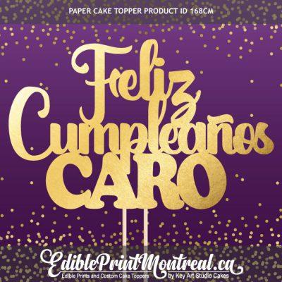 168CM Feliz Cumpleanos Name Custom Paper Cake Topper in Spanish
