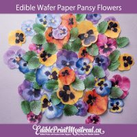Edible Wafer Pansy Flowers and Leaves Pre-cut