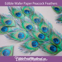 Edible Wafer Paper Peacock Feathers for Cakes, Cupcakes, cookies, drinks. Pre-Cut, ready to use