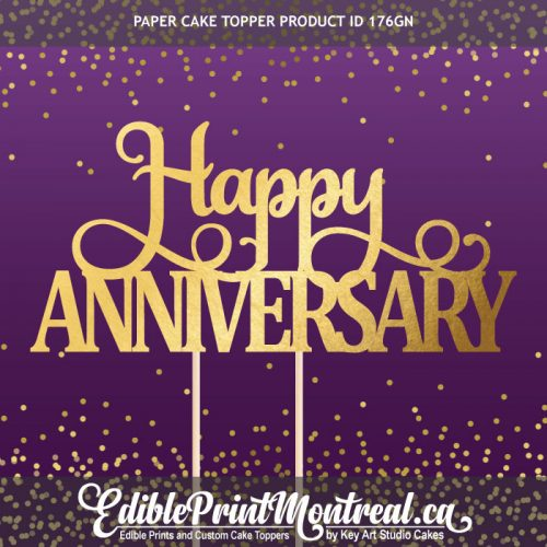 176GN Happy Anniversary Custom Paper Cake Topper
