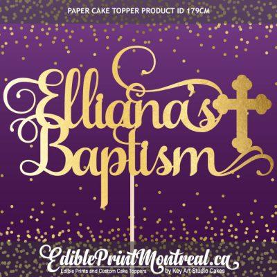 179CM Name's Baptism Custom Paper Cake Topper