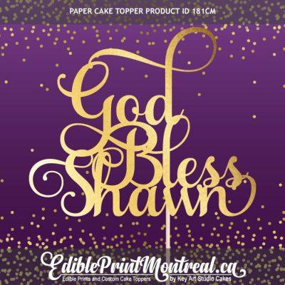 181CM God Bless Name Custom Paper Cake Topper