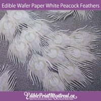 Edible Wafer Paper All White Peacock Feathers for Cakes, Cupcakes, cookies, drinks. Pre-Cut, ready to use