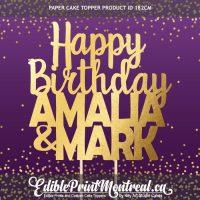 182CM Happy Birthday 2 Names Custom Paper Cake Topper