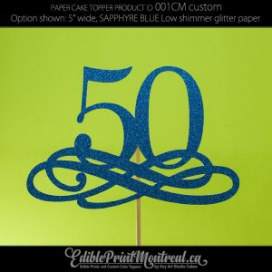 001CM Number with Flourish Cake Topper • Edible Print Montreal