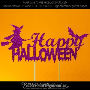 003GN Happy Halloween Glitter Paper Cake Topper.
